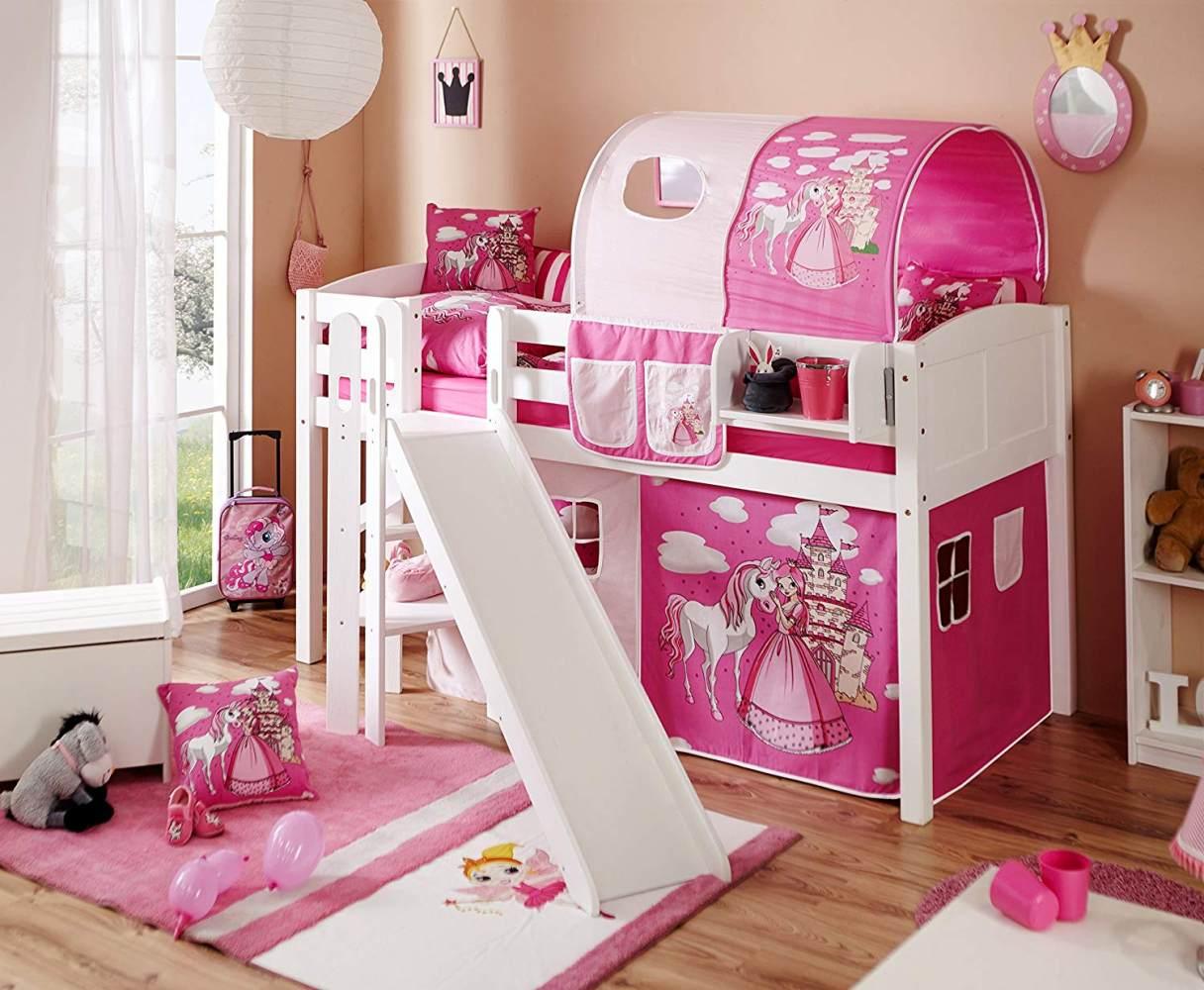 Ticaa Podestbett mit Rutsche Ekki Kiefer massiv Weiß-Horse Pink Bild 1