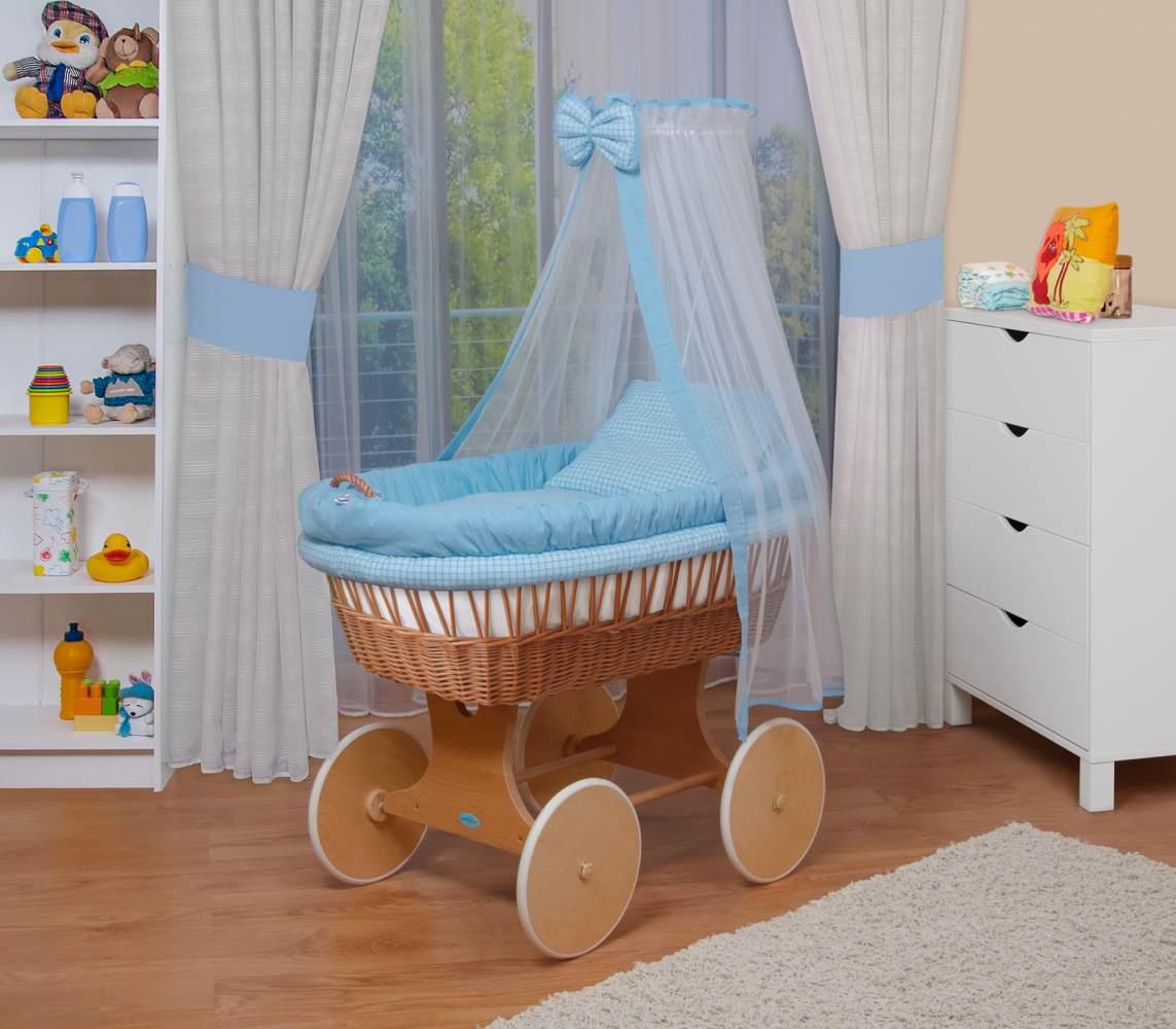 WALDIN Baby Stubenwagen-Set mit Ausstattung, Gestell/Räder natur, Ausstattung blau kariert Bild 1