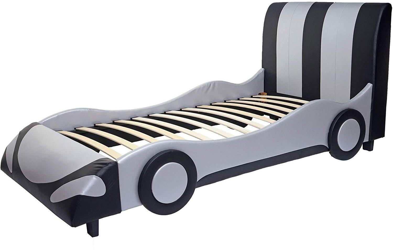 Mendler Autobett Kunstleder/Holz schwarz-silber 190x100cm Bild 1