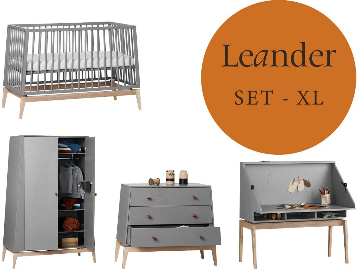 Leander Luna Kinderzimmer XL-Set Grau / Eiche Kleiderschrank Klein Babybett 120 x 60 cm Bild 1