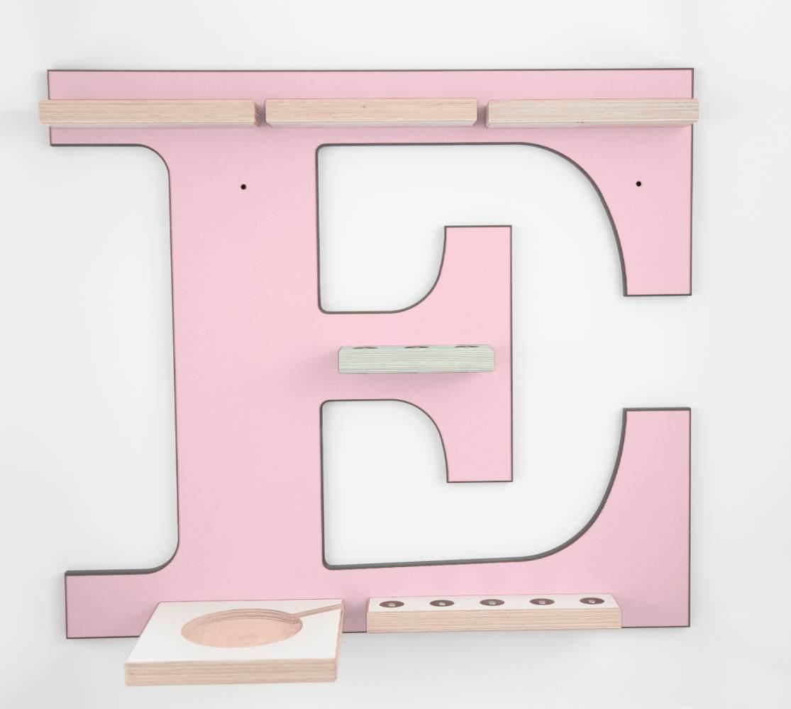 Schreinerei Linden 'Buchstabe E' Tonie Regal mit Musikboxhalter, rosa Bild 1