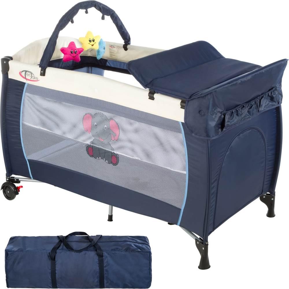 tectake 'Elefant' Reisebett, Blau, höhenverstellbar, mit Schlupf, inkl. Wickelauflage und Spielbogen Bild 1