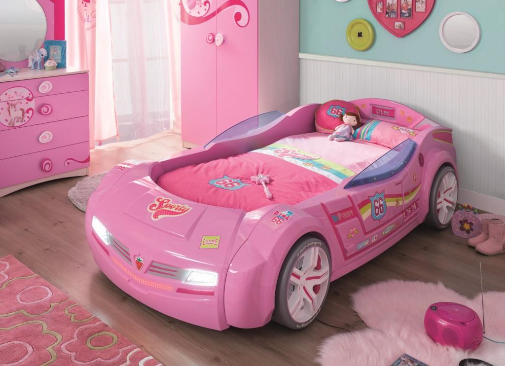 Cilek 'BiTURBO' Autobett Pink mit Matratze Bild 1