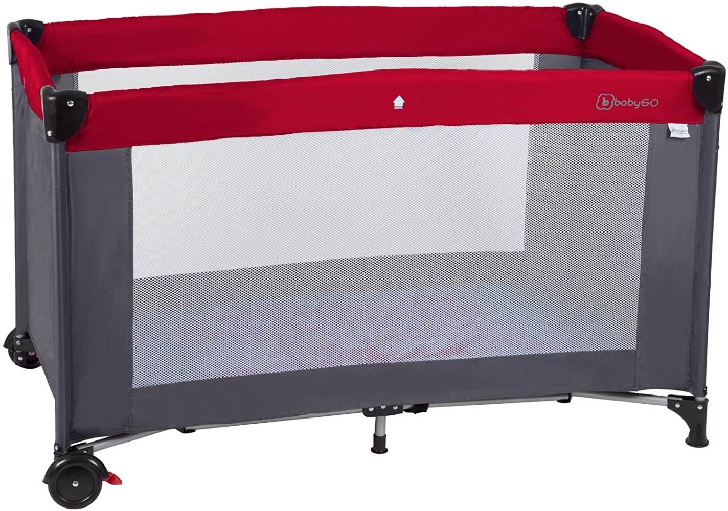 BabyGO 'Sleeper Neo' Reisebett 60x120 cm, rot, mit Rädern, Schlupfloch, Tasche und Reisebettmatratze Bild 1