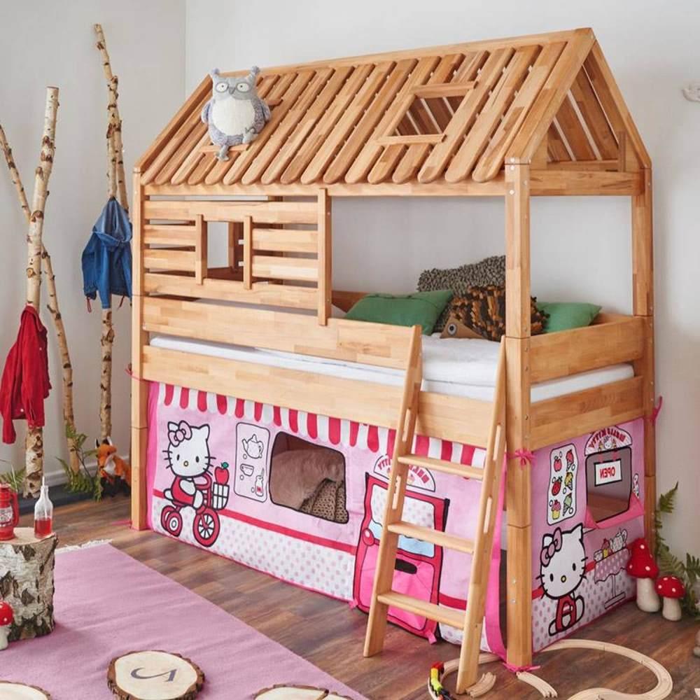 Relita Hausbett BERGEN-13 Buche massiv natur geölt, Textilset Disney Hello Kitty Bild 1