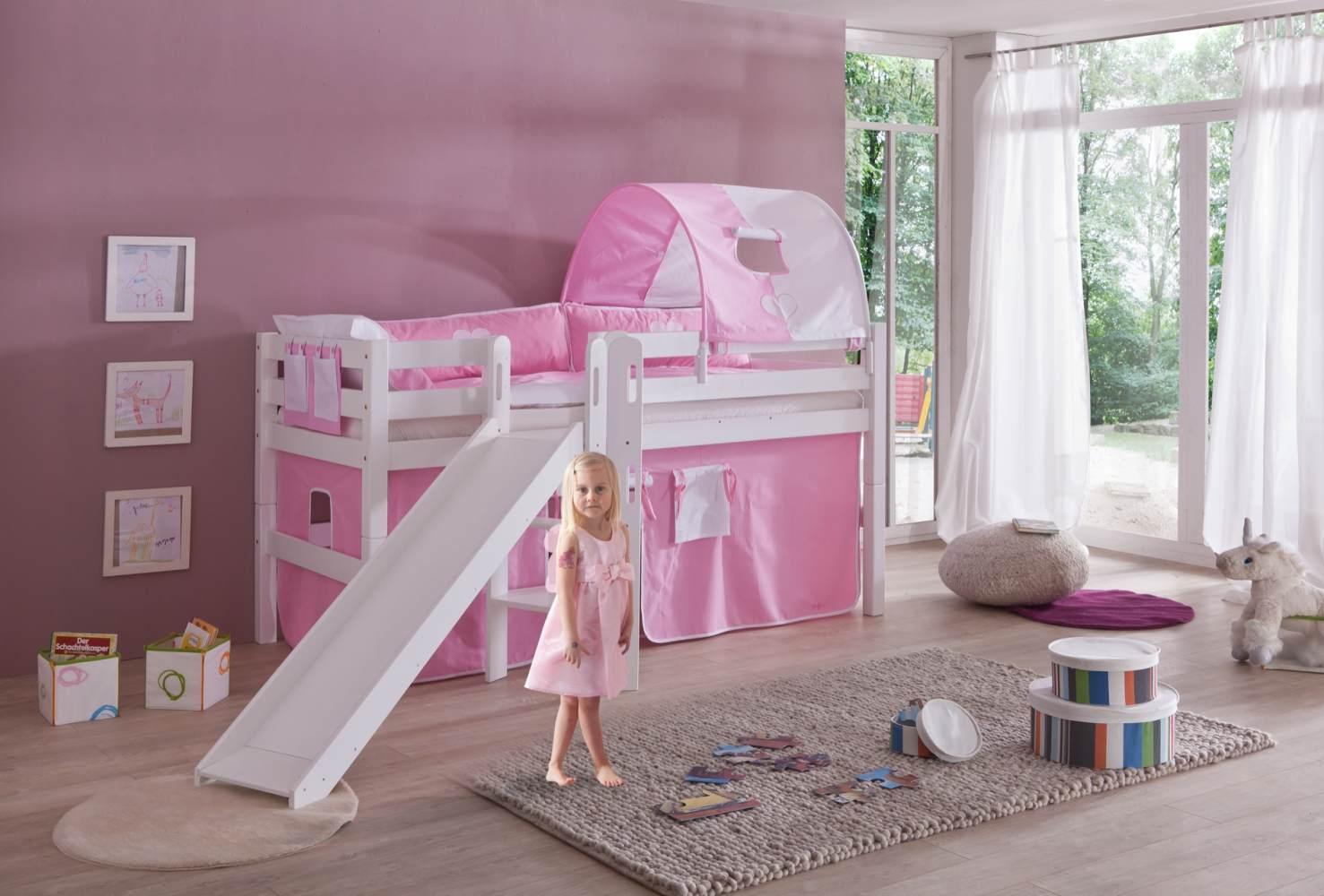Relita 'Eliyas' Spielbett mit Rutsche und Textilset Vorhang, 1-er Tunnel und Tasche rosa/weiß Bild 1