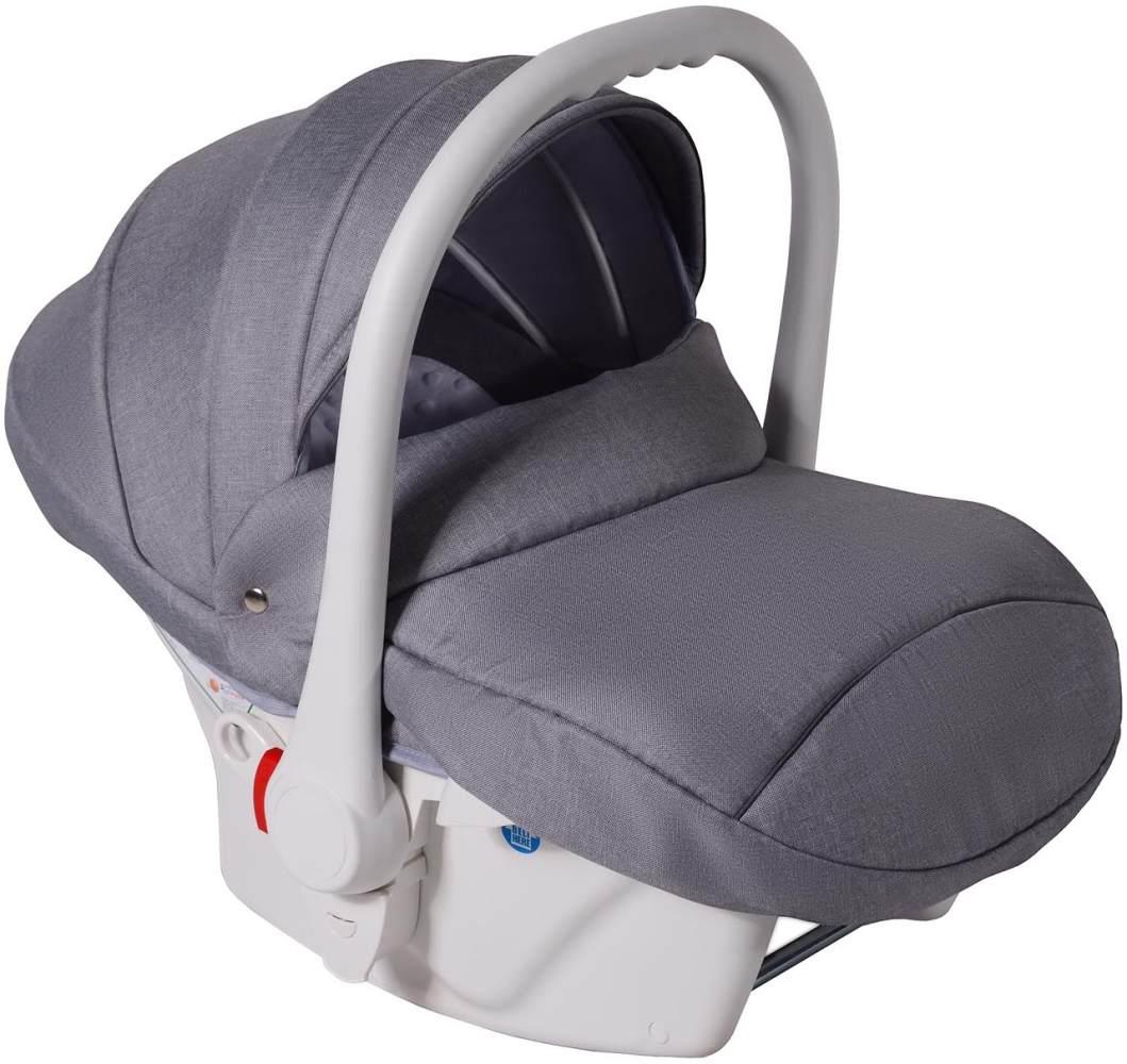 Clamaro Babyschale weiß/Leinen Hell Grau Bild 1
