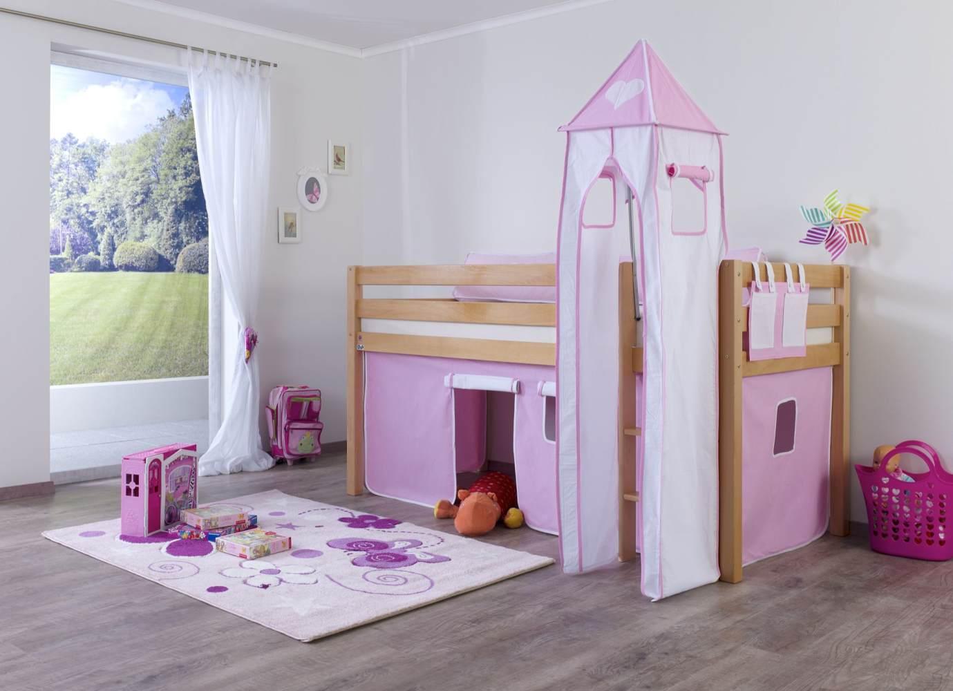 Relita Halbhohes Spielbett ALEX Buche massiv natur lackiert mit Stoffset Vorhang, Turm, Tasche Bild 1