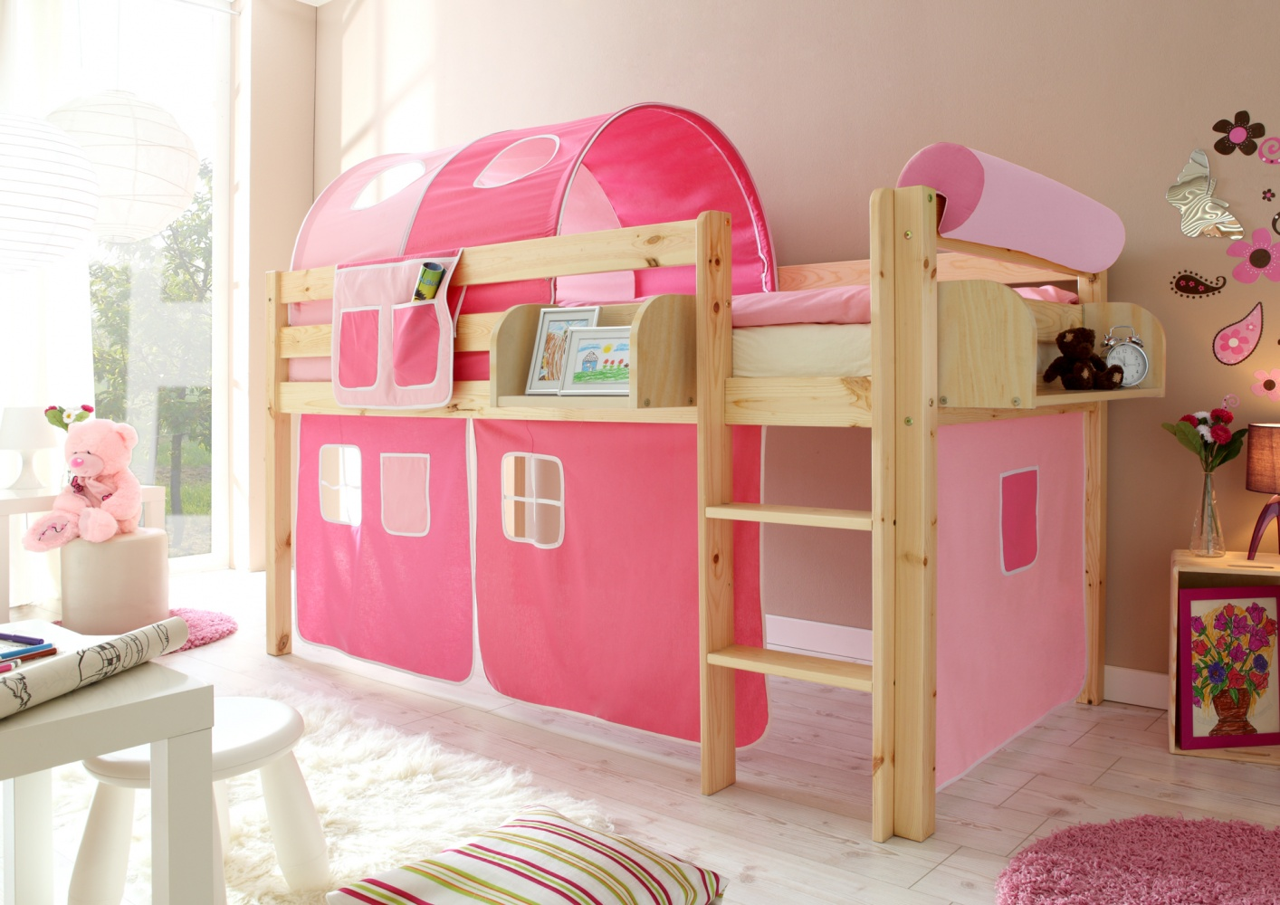 Ticaa Hochbett Malte Kiefer Natur - Rosa-Pink Bild 1