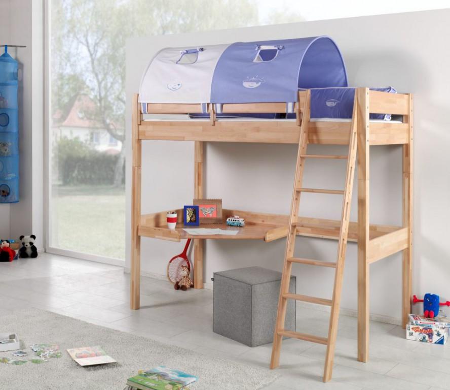 Relita 'RENATE' Multifunktionsbett mit Schreibtisch Buche, Stoffset Blau/Boy mit Matratze Bild 1