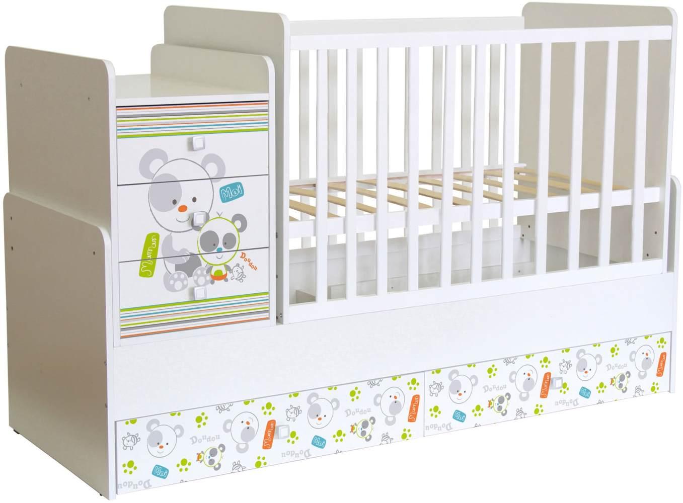 Polini Kids 'Simple 1100' Kombi-Kinderbett 60 x 120/170 cm, weiß, Panda, höhenverstellbar, mit Schaukelfunktion, inkl. Kommode Bild 1