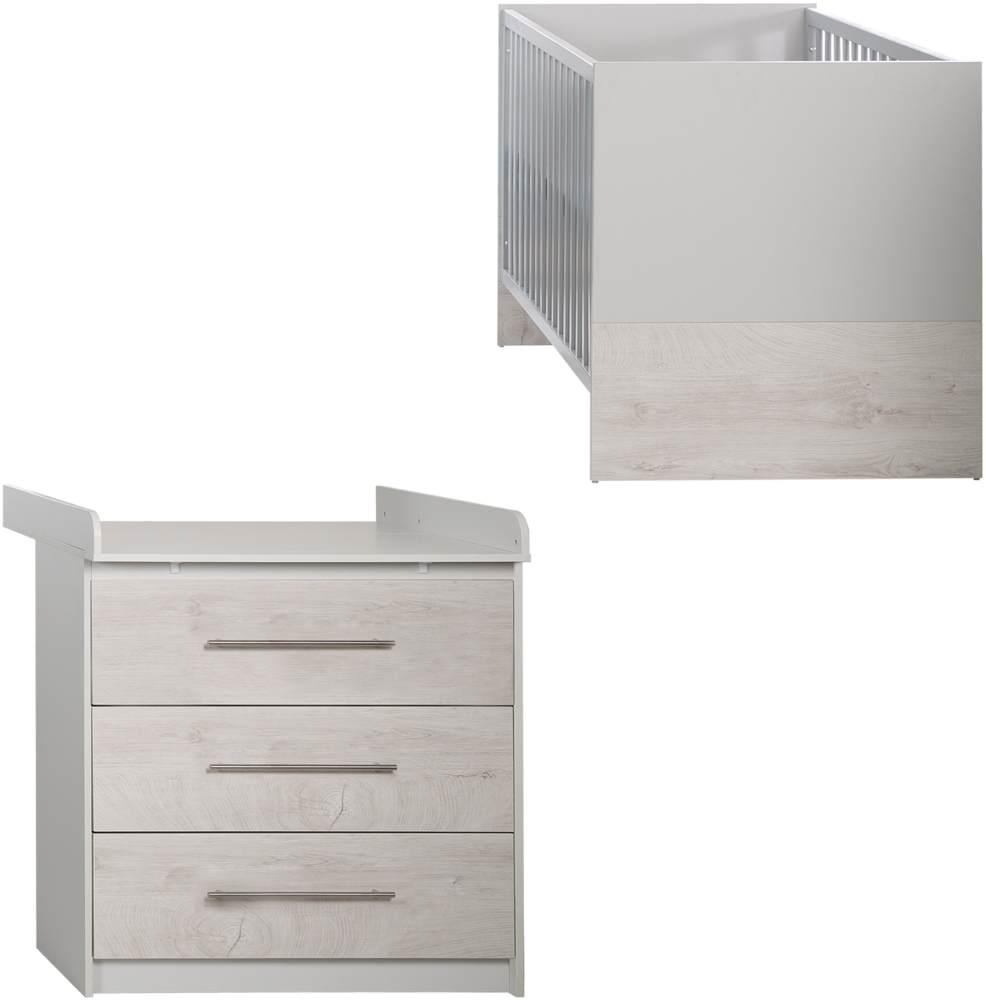 Roba 'Maren 2' 2-tlg. Babyzimmer-Set, weiß/lichtgrau, aus Bett 70x140 cm und schmaler Wickelkommode Bild 1
