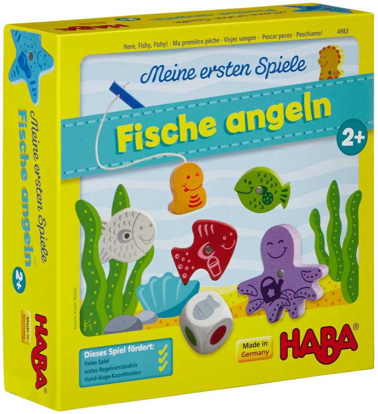 Haba 4983 - Meine ersten Spiele Fische angeln, spannendes Angelspiel mit bunten Holzfiguren, Lernspiel und Holzspielzeug ab 2 Jahren, Motorikspielzeug Bild 1