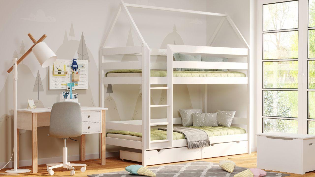 Kinderbettenwelt 'Home' Etagenbett 80x190 cm, weiß, Kiefer massiv, mit Lattenrosten und zwei Schubladen Bild 1