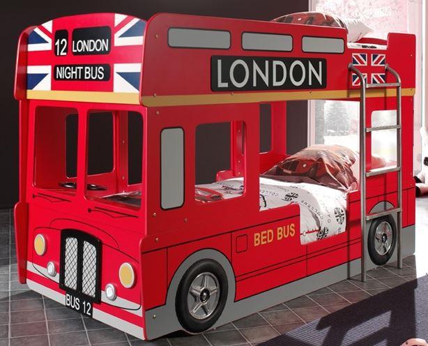 London Etagenbett Doppelbett Hochbett Bett Bettgestell 90x200 cm Rot, inkl. Matratze Basic Bild 1
