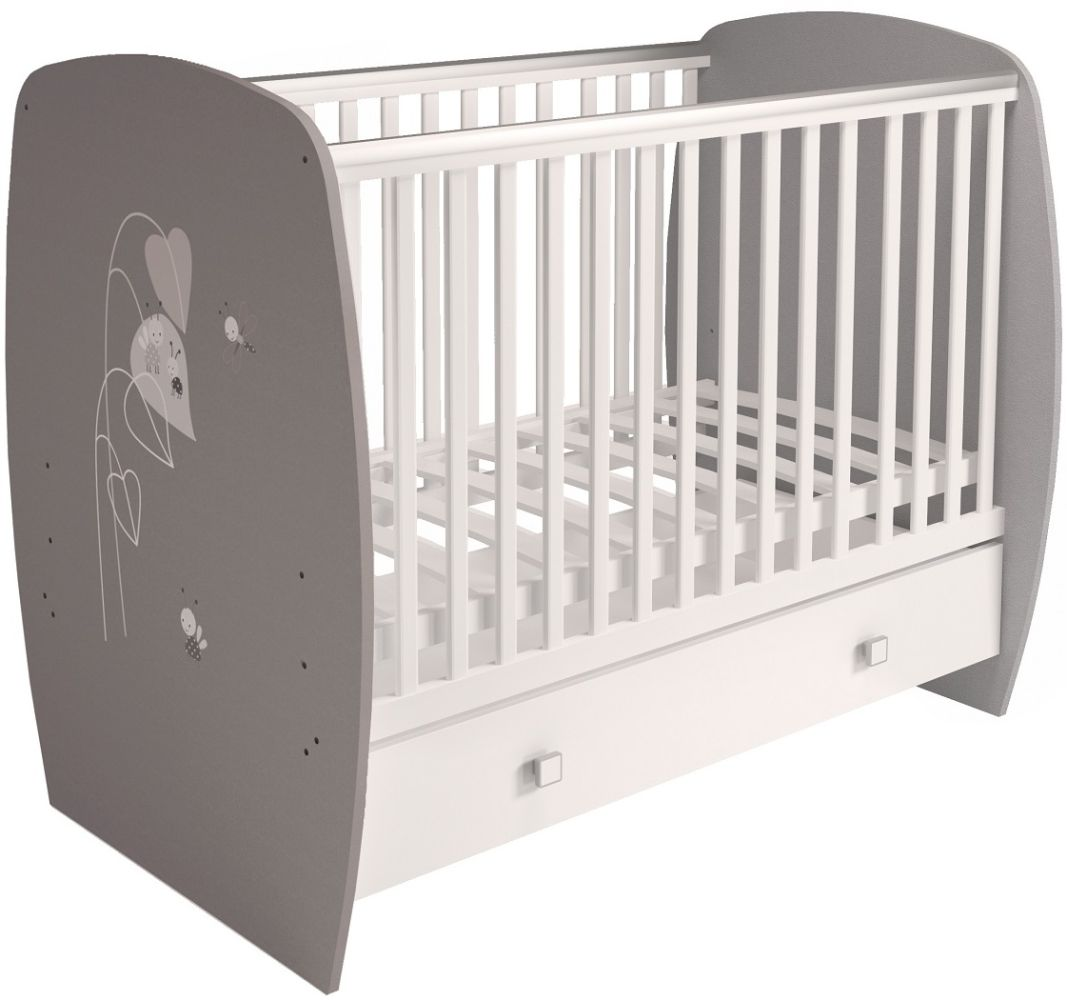 Polini Kids 'French Amis' Gitterbett 60x120 cm, Grau-Weiß, 3-fach höhenverstellbar, mit Schublade Bild 1