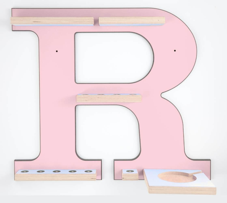 Schreinerei Linden 'Buchstabe R' Tonie Regal mit Musikboxhalter, rosa Bild 1