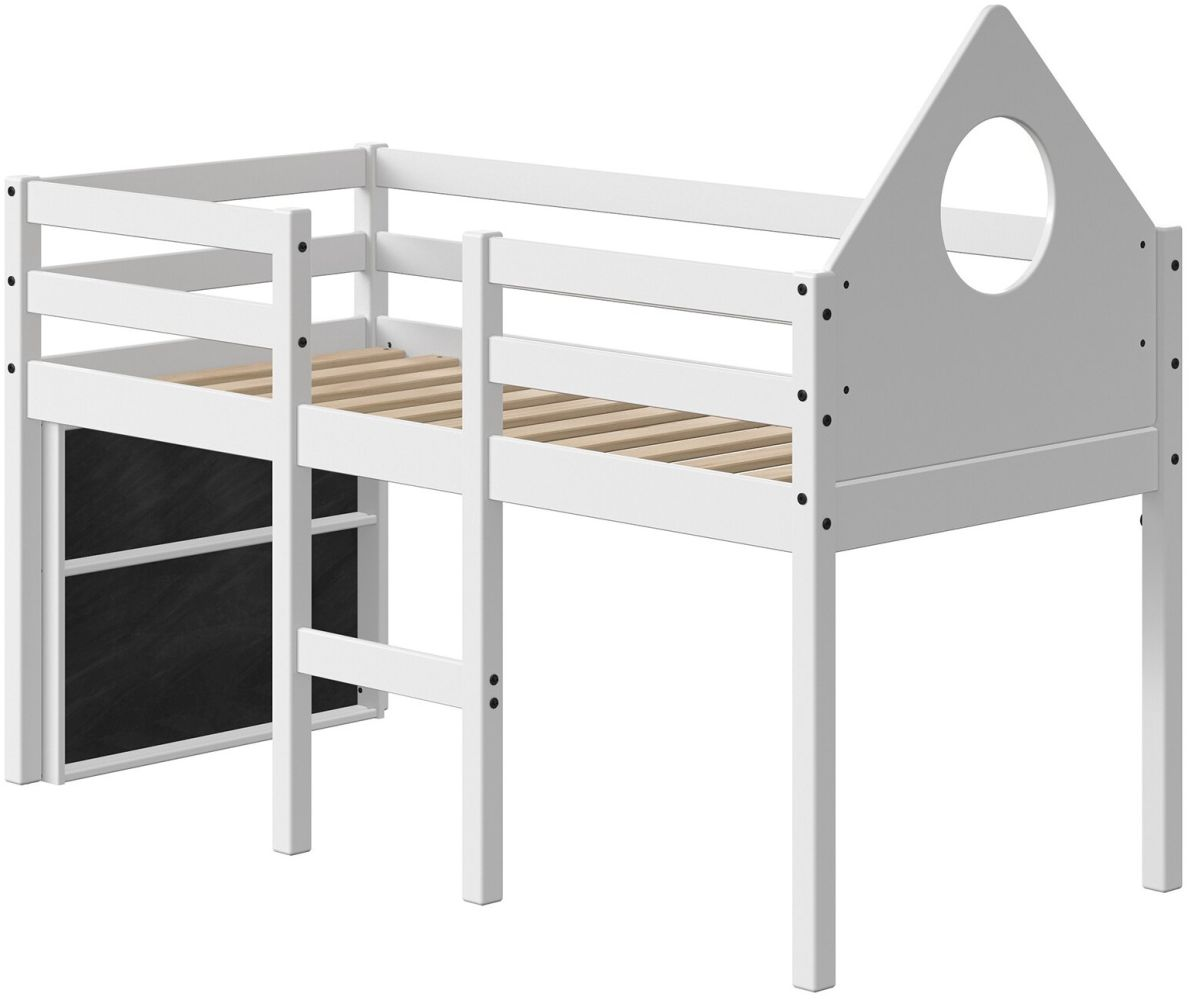 FLEXA Halbhochbett Alfred 70x160cm mit Giebel Tafel und gerader Leiter 90-10898-40 Bild 1