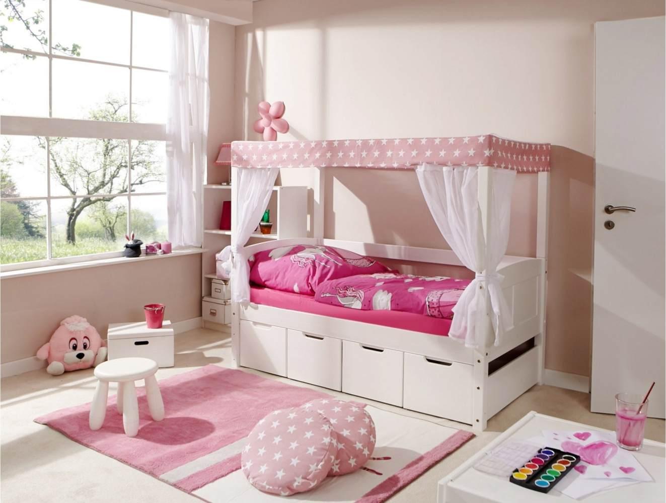 Ticaa 'Mini' Himmelbett weiß, Stern rosa, inkl. Bettkasten 'Maria' 80x160 Bild 1