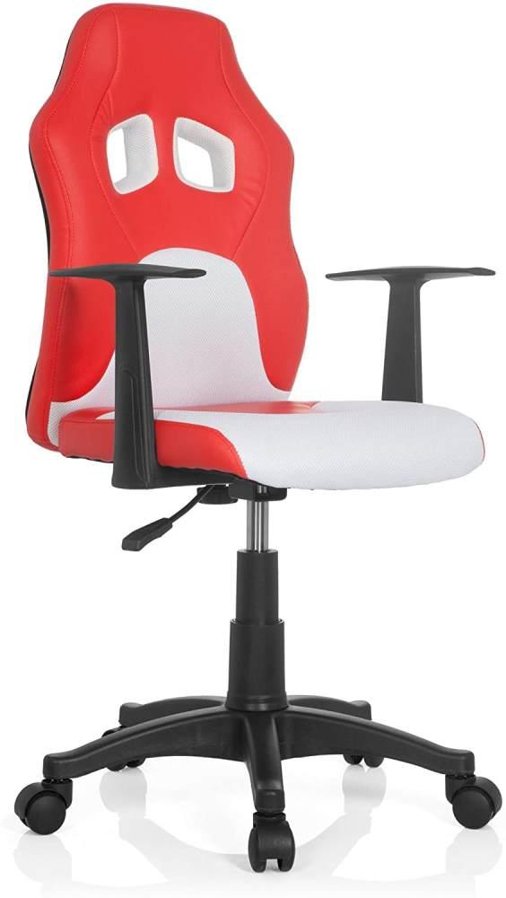 hjh OFFICE 670760 Kinder- und Jugenddrehstuhl Teen RAYCER AL Kunstleder Rot/Weiß Schreibtischstuhl höhenverstellbar Bild 1
