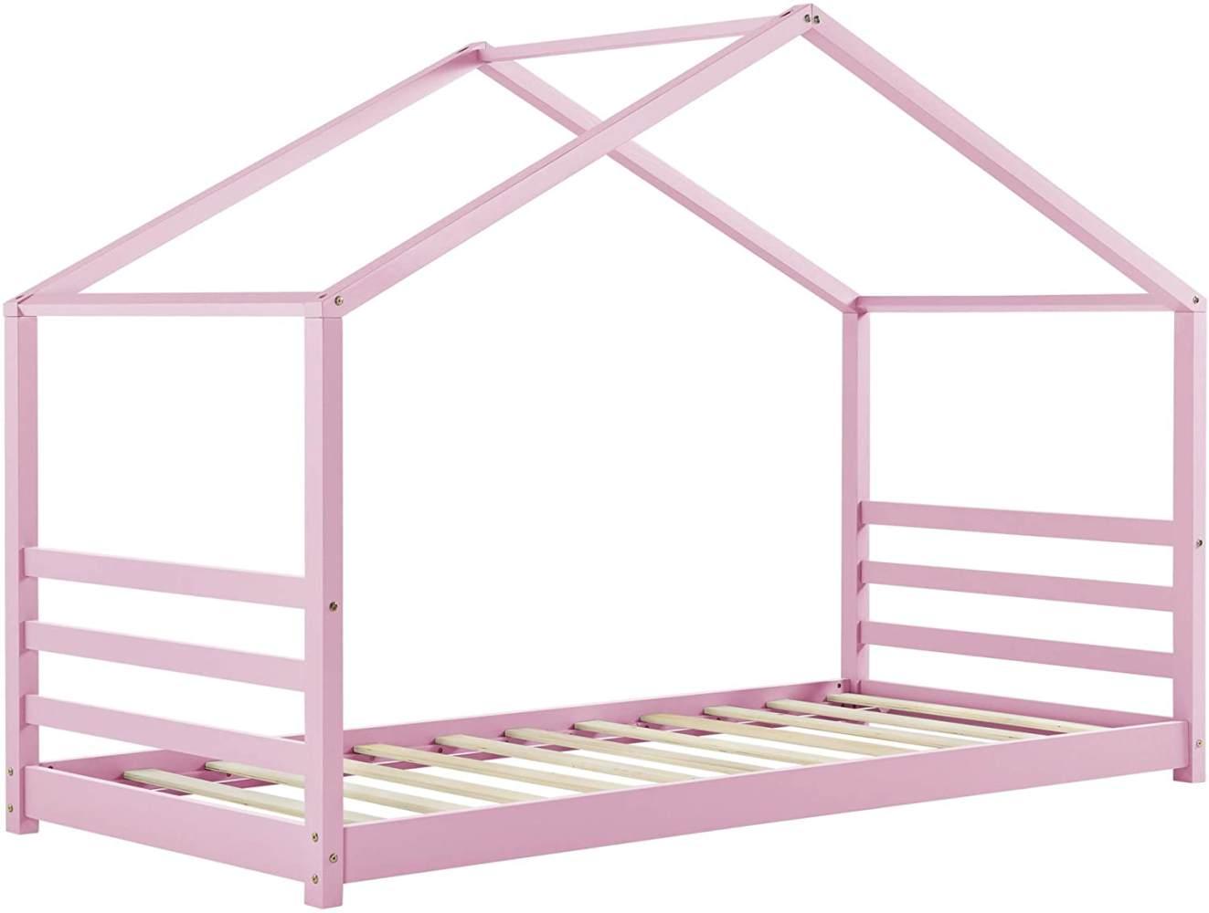 [en.casa] Hausbett Rosa 90x200cm, inkl. Lattenrost Bild 1
