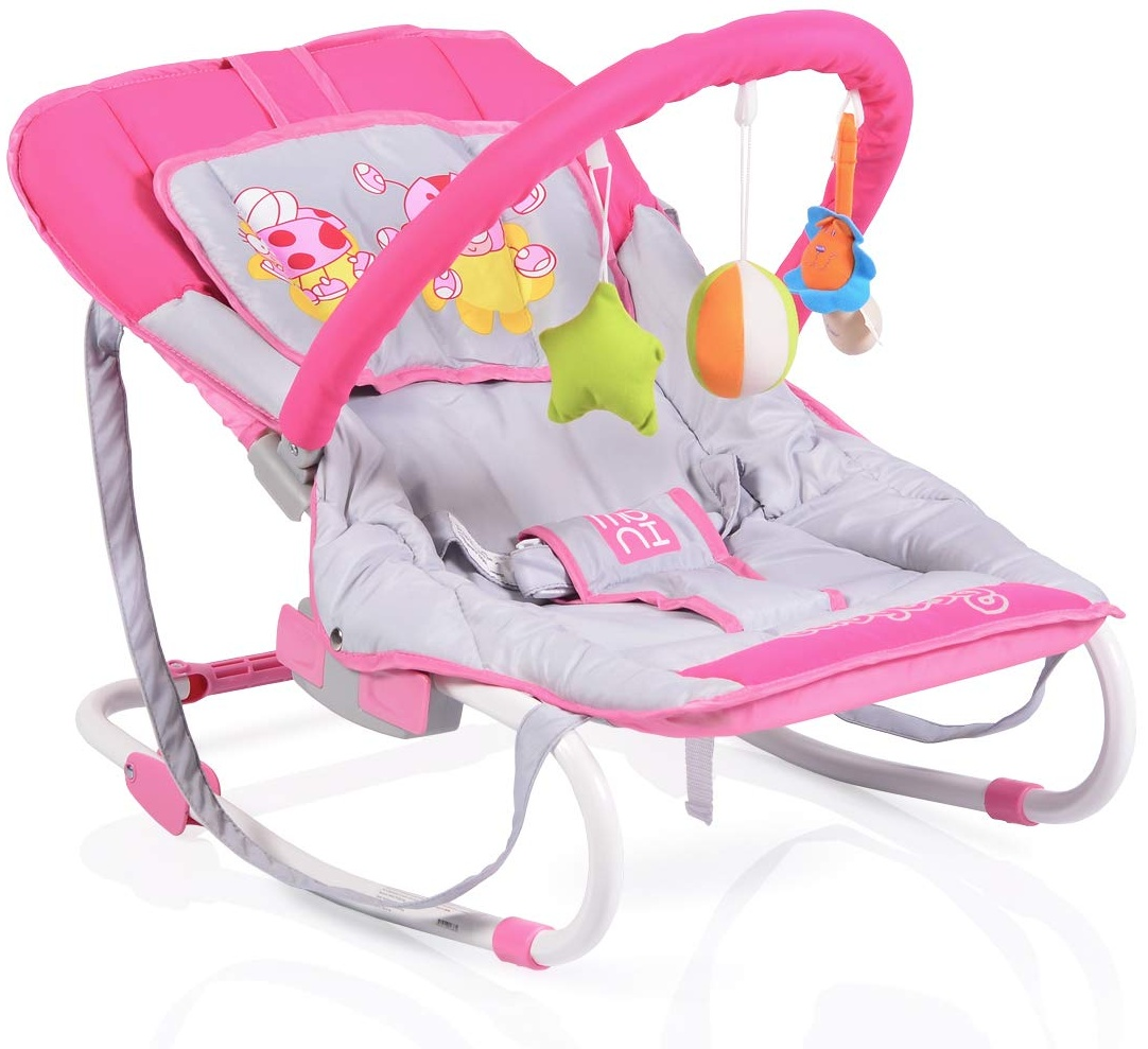 Babywippe Candy verstellbar mit Kissen, Spielbogen mit Spielzeug, Tragehenkel (Rosa) Bild 1
