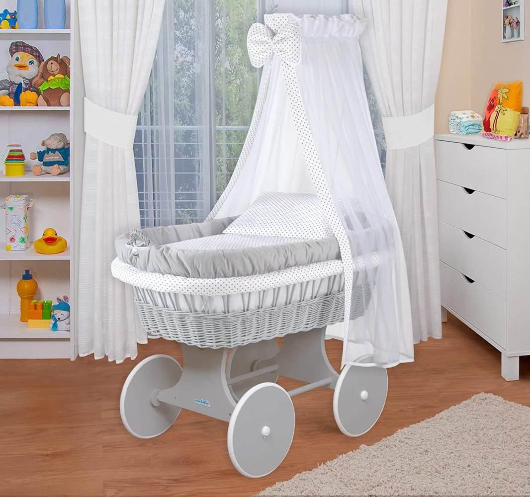 WALDIN Baby Stubenwagen-Set mit Ausstattung, Gestell/Räder grau lackiert, Ausstattung weiß Bild 1