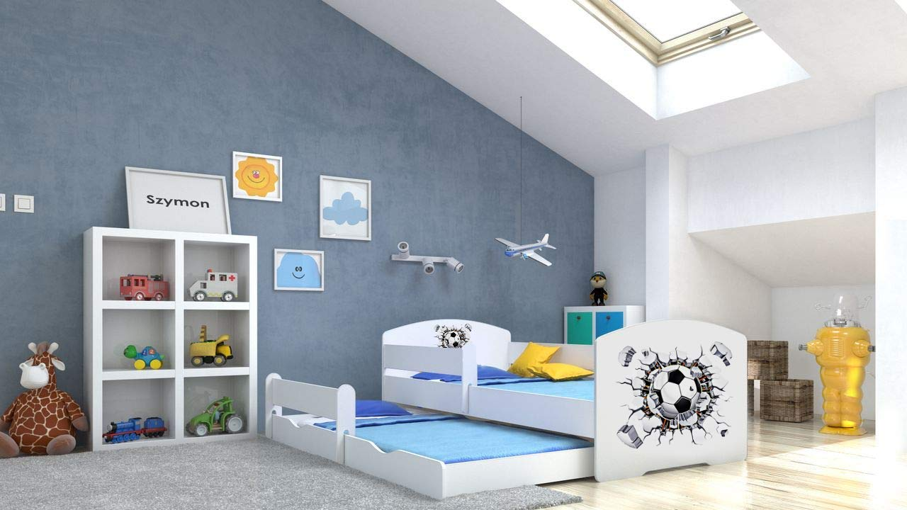Angelbeds 'Luk' Kinderbett 80x160 cm, Motiv Ball, inkl. Flex-Lattenrost, Schaummatratze und Schubbett Bild 1