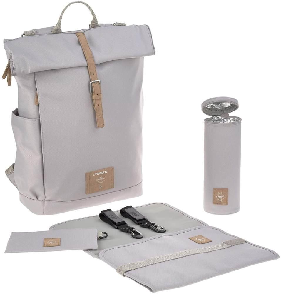 LÄSSIG Baby Wickelrucksack mit Wickelunterlage, Kinderwagenbefestigung, Flaschenwärmer wasserabweisend nachhaltig produziert/Rolltop Backpack grey Bild 1