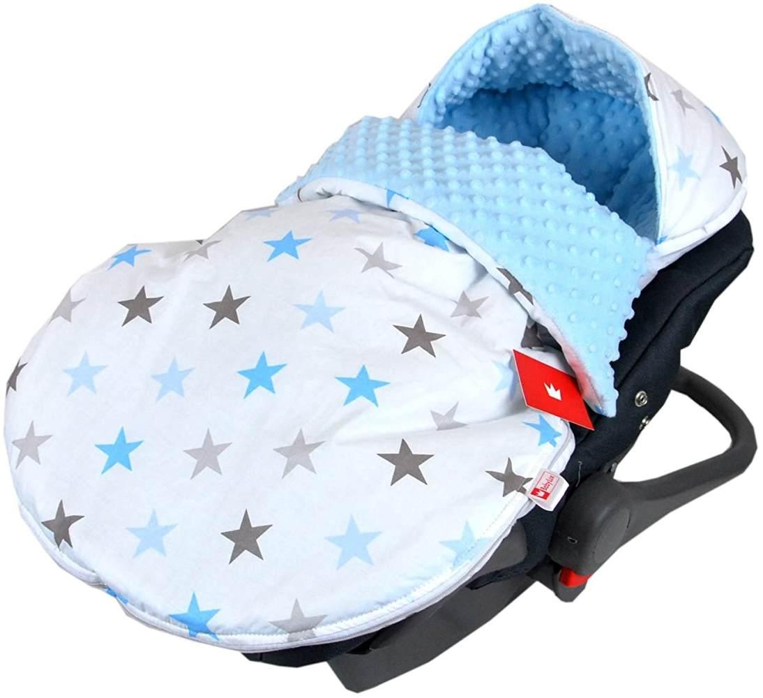 Fußsack SOMMERFUßSACK 90cm Minky Babyschale Kinderwagen Buggy Jogger (4. Blau + Sterne), universell einsetzbar Bild 1
