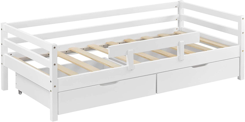 en.casa Kinderbett aus Kiefernholz inkl. 2 Bettkasten und Lattenrost 140x70 cm, weiß Bild 1