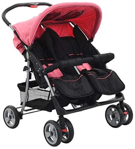 vidaXL Baby Zwillingswagen Rosa und Schwarz Stahl Bild 1
