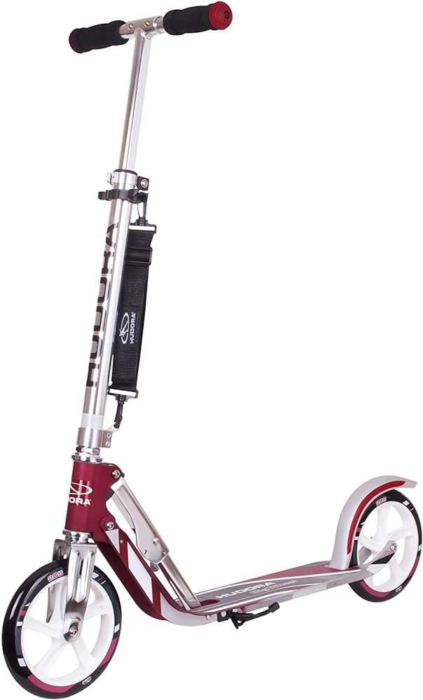 HUDORA 14764 'BigWheel 205' Scooter, ab 6 Jahren, höhenverstellbar bis 104 cm, klappbar, max. belastbar bis 100 kg, Magenta/Silber Bild 1