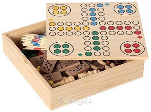 Bartl 111459 - Spielesammlung klein mit 6 Spielen - Schach, Dame, Ludo, Domino, Mikado und Kartenspiele. Bild 1