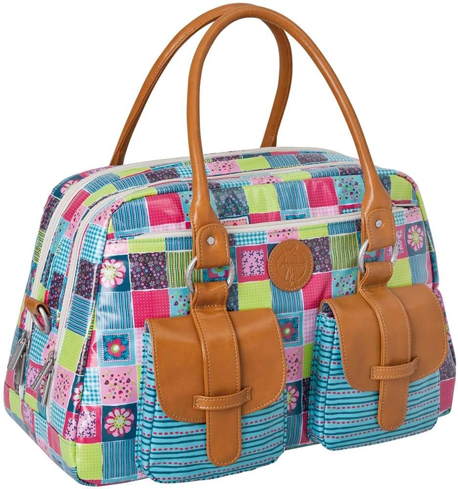 LÄSSIG Baby Wickeltasche Babytasche Kliniktasche Stylische Tasche Mama inkl. Wickelzubehör/Vintage Mero Bag, Flower Quilt Bild 1