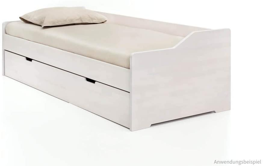 Livingruhm Bett 90x200cm Kernbuche lackiert, massiv, mit Auszugfunktion Bild 1