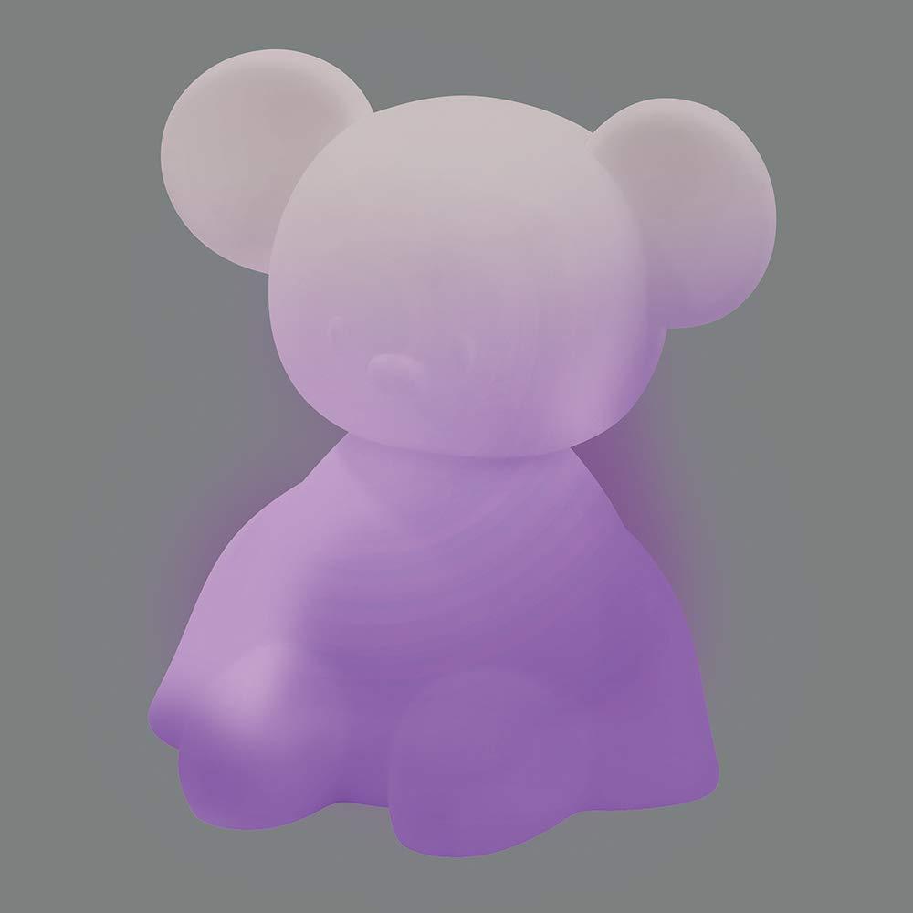 Nattou LED Nachtlicht Maus aus Silikon, 7 Farben in 4 Lichtstärken, BPA-frei, 13,5 x 10,5 x 14 cm, Weiß Bild 1