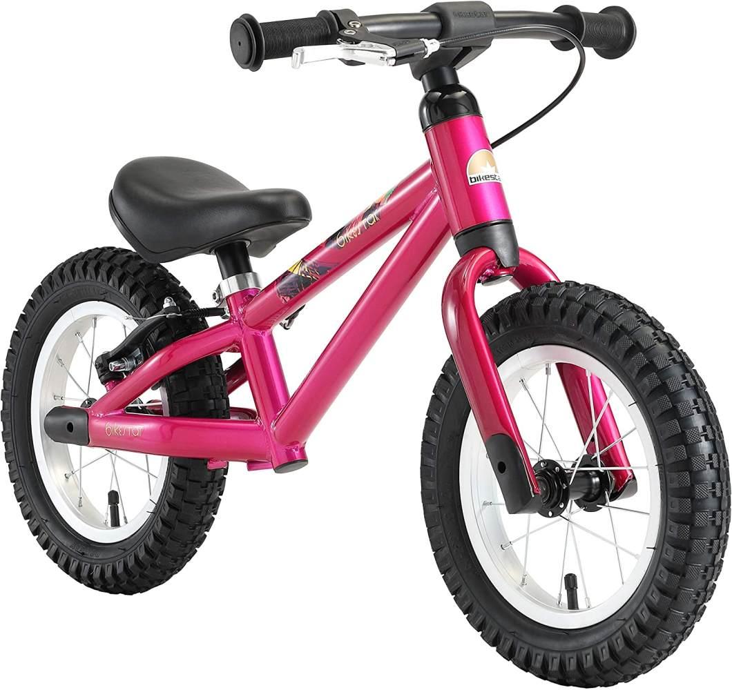 BIKESTAR Mountain Kinderlaufrad Lauflernrad Kinderrad für Jungen und Mädchen ab 3 - 4 Jahre | 12 Zoll Kinder Laufrad Mountainbike | Berry Lila | Risikofrei Testen Bild 1