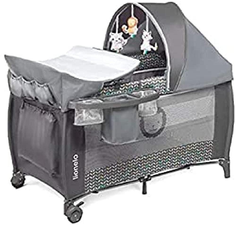 Lionelo Sven Plus 2 in 1 Baby Bett Laufstall Baby ab Geburt bis 15 kg Wickelauflage Moskitonetz luftige Seitenwände mit Seiteneingang Tragetasche zusammenklappbar (Grey Scandi) Bild 1