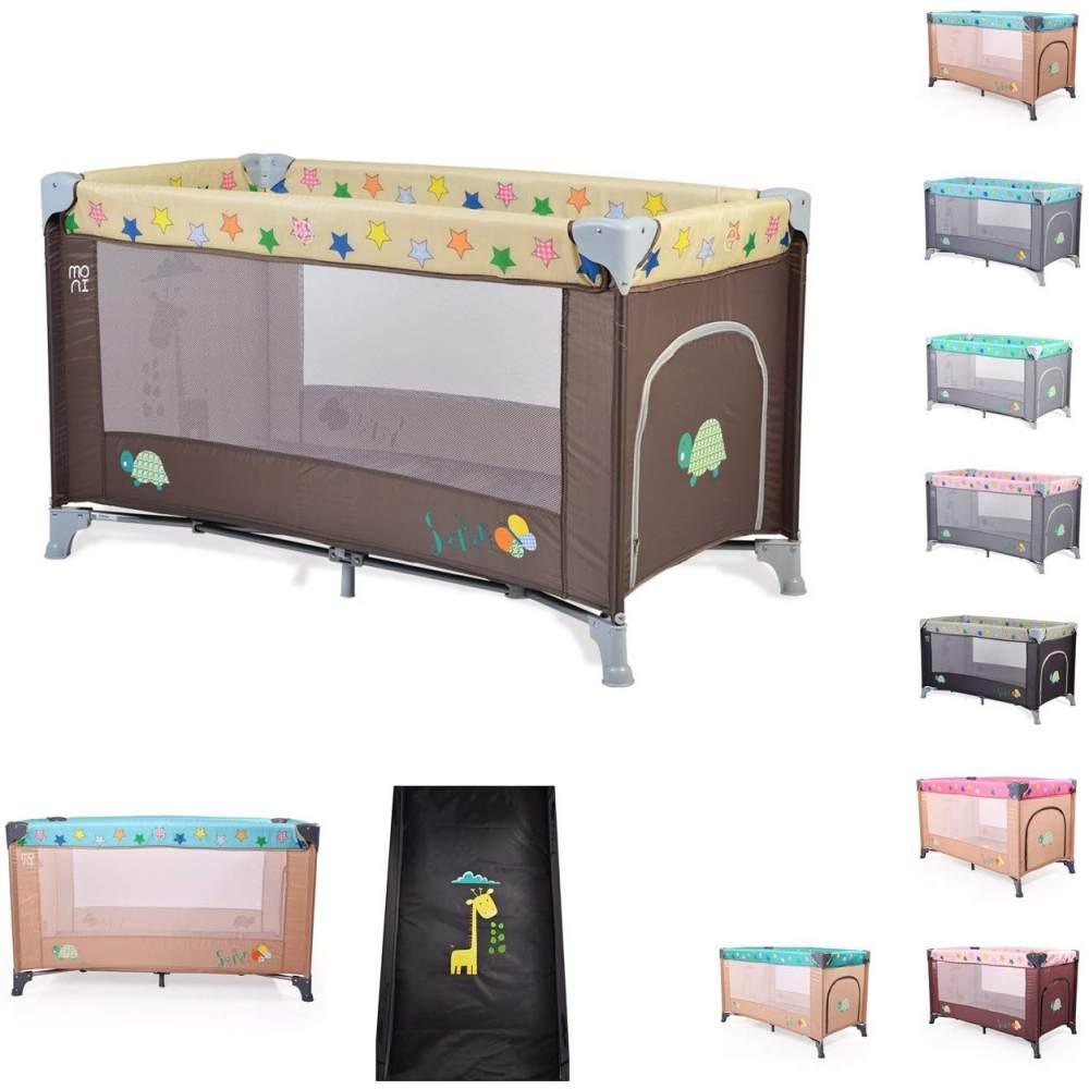 Moni Reisebett, Laufstall Safari Matratze Sichtfenster Seiteneingang Tragetasche, Farbe:braun Bild 1