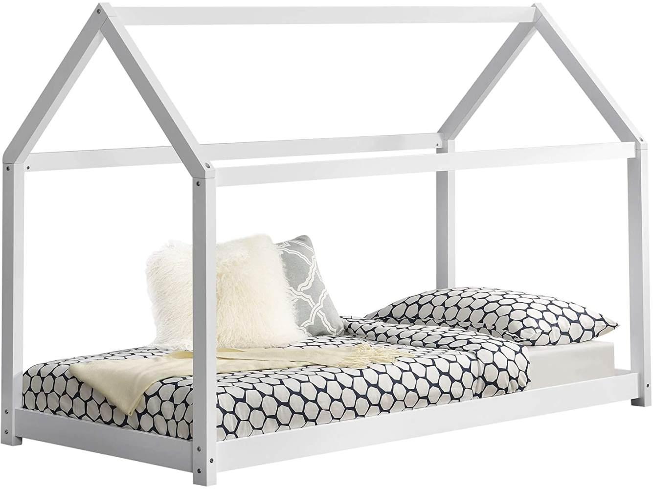 en.casa Hausbett aus Kiefernholz 70x140 cm inkl. Lattenrost, weiß Bild 1