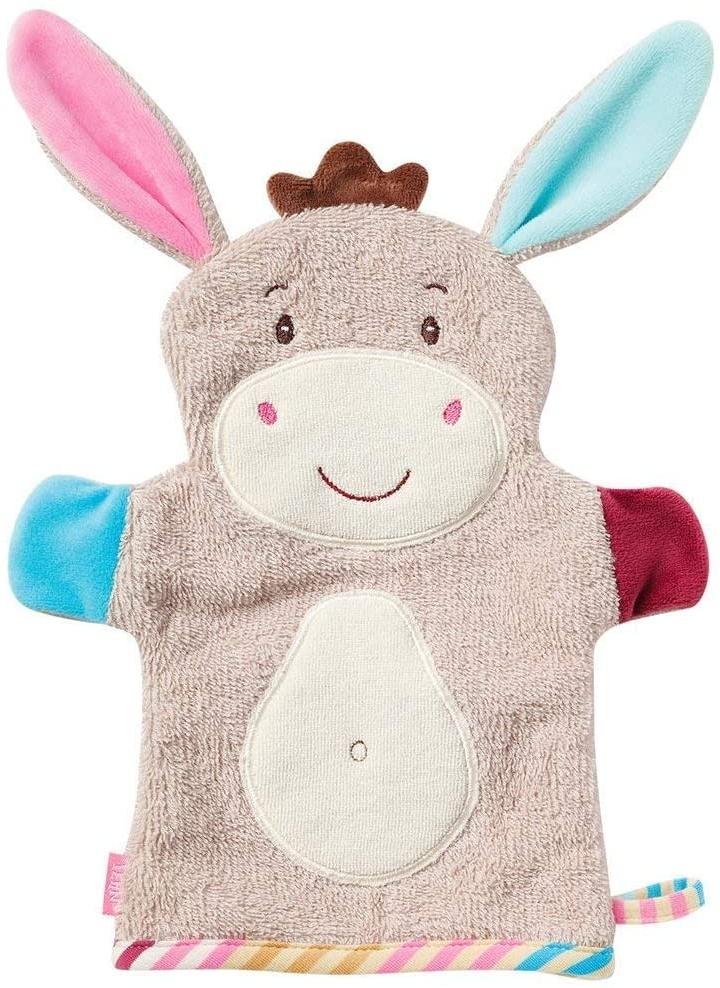 Fehn 081442 Waschhandschuh Esel – Waschlappen mit Tiermotiv für fröhlichen Badespaß, für Babys und Kinder ab 0+ Monaten Bild 1