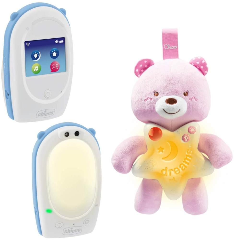 Chicco SET-Audio-Babyphone FIRST DREAMS mit Gute Nacht Bärchen, DECT-Technologie, Gegensprechfunktion, Farbiges Touchscreen, Nachtlicht und Schlaflied, GIRL, rosa Bild 1