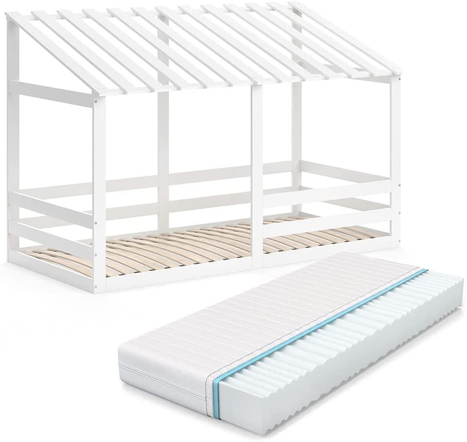VitaliSpa 'Silvia' Hausbett, Weiß, 90x200cm, Massivholz Buche, inkl. Matratze, Lattenrost und Rausfallschutz Bild 1