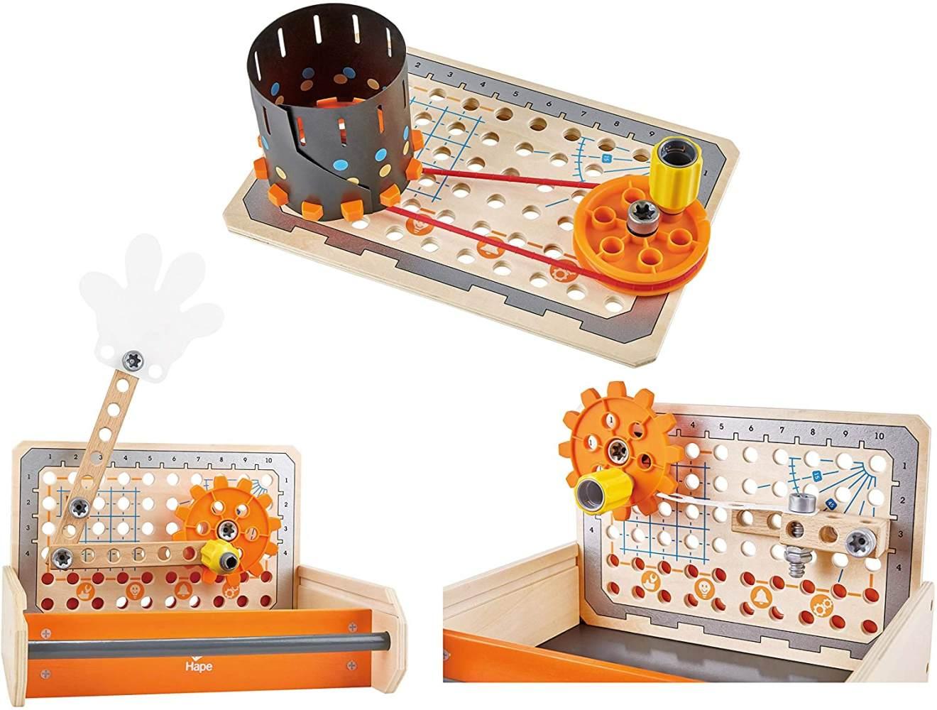 Hape E3029 – Tüftler Werkzeugkasten, MINT-Spielzeug, Experimentierset, Junior Inventor - Erfinden und Experimentieren Bild 1