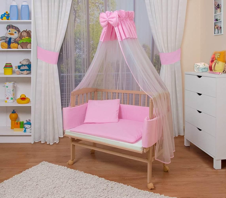 WALDIN Beistellbett mit Matratze und Nestchen, höhenverstellbar, Ausstattung rosa/weiß, Gestell Natur unbehandelt Bild 1