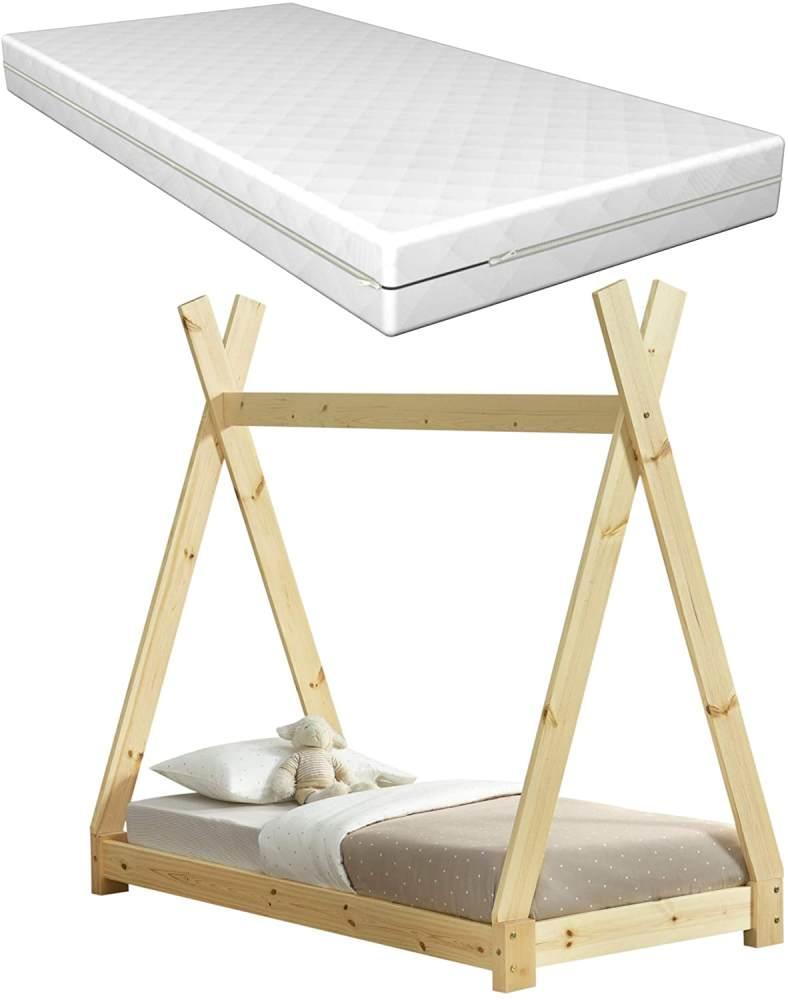 [en.casa] Tipi-Bett Natur 70x140 cm inkl. Lattenrost und Matratze Bild 1