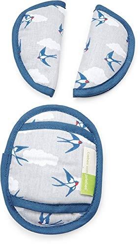 Priebes PHILIP Gurtpolster für Babyschale | praktischer Gurtschoner | waschbar bei 30 Grad | 100% Baumwolle | weich & bequem | Made in EU, Design:Schwalben grau Bild 1