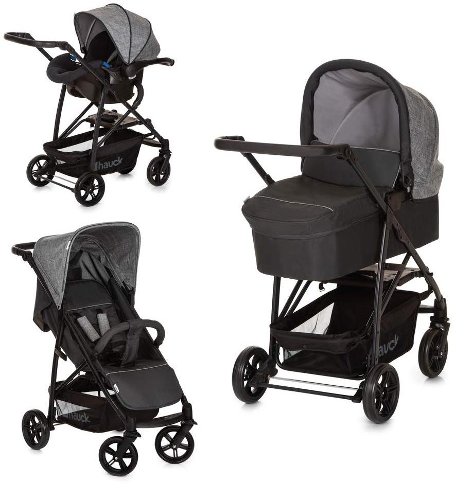 Hauck Rapid 4 Plus Trio Set 3 in 1 Kinderwagen Set bis 25 kg, isofix-fähige Babyschale, Babywanne mit Matratze ab Geburt, höhenverstellbarer Griff, klein faltbar, leicht - Grau, 149744 Bild 1