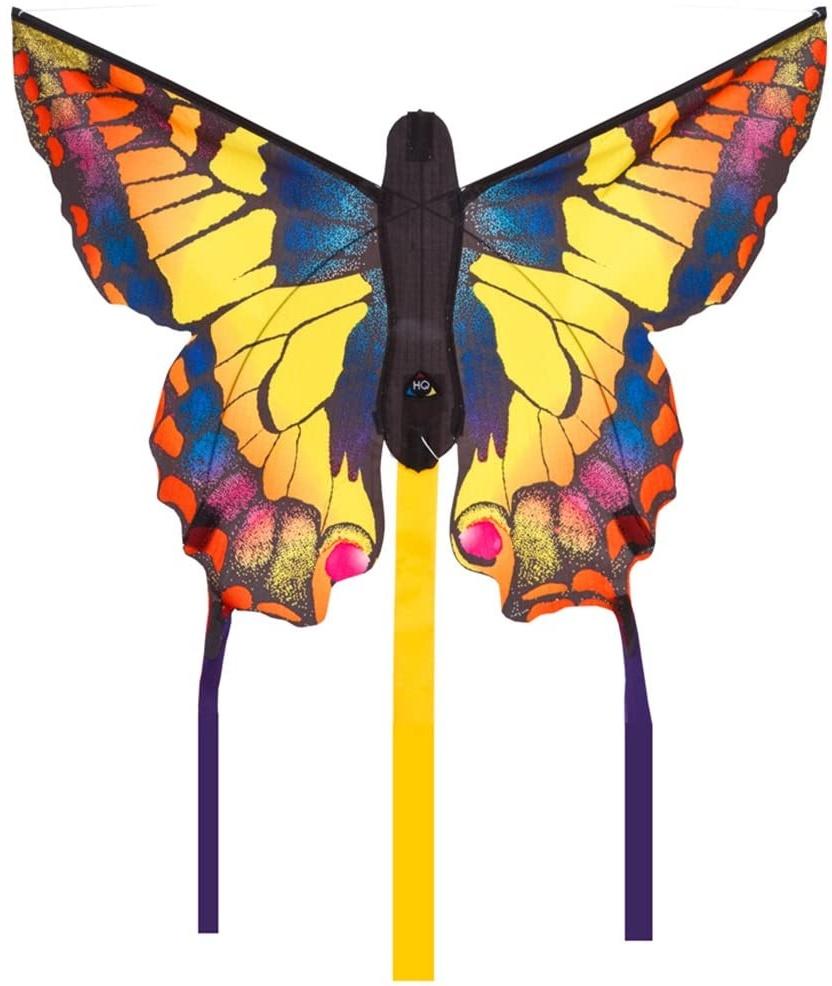 """HQ Windspiration -Butterfly Kite Swallowtail """"R"""" Kinderdrachen Einleiner, ab 5 Jahren, inkl. 10kp Polyesterschnur 25m auf Griff, 2-4 Beaufort 61 x 10.2 x 5.1 cm Bild 1"""